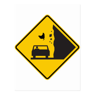 Falling Chicken Zone Highway Sign Postcard