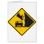 Falling Cow Zone Highway Sign Greeting Card