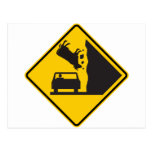 Falling Cow Zone Highway Sign Postcard