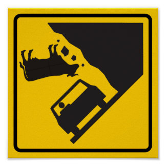 Falling Cow Zone Highway Sign Poster