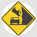 Falling Cow Zone Highway Sign Round Sticker