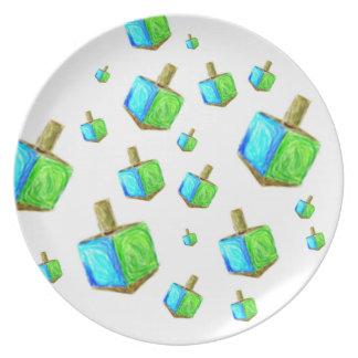 Falling Dreidels Hanukkah Plate