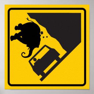 Falling Elephant Zone Highway Sign