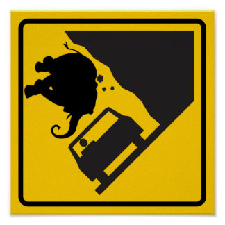 Falling Elephant Zone Highway Sign Poster
