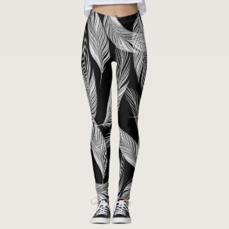 Falling Feathers In Black And White Leggings