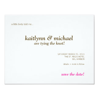 """Falling Feathers in Chocolate Save the Date Card 4.25"""" X 5.5"""" Invitation Card"""
