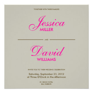 Falling Feathers in Chocolate Taupe Modern Wedding Announcement