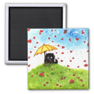 Falling for you Fuzzy Cat Love BiHrle Square Magnet