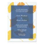 Falling ginkgo leaves navy golden autumn wedding 13 cm x 18 cm invitation card