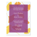 Falling ginkgo leaves purple golden autumn wedding 13 cm x 18 cm invitation card