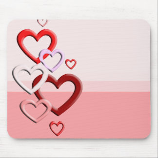 falling hearts pink background mouse pad