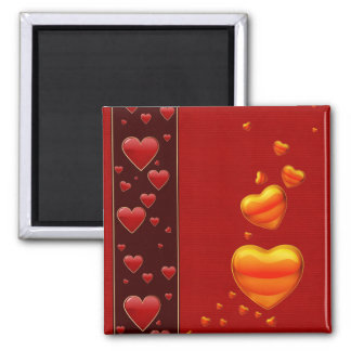 Falling Hearts Square Magnet