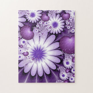 Falling in Love Abstract Flowers & Hearts Fractal Jigsaw Puzzle