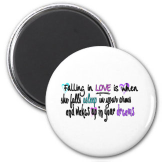 Falling in love refrigerator magnet