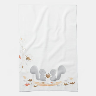Falling in Love Squirrel kitchen towel