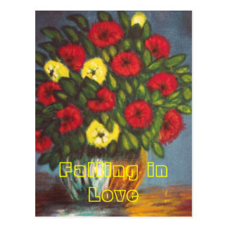 Falling in Love Vase Red Yellow Flowers Postcard