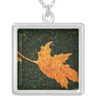 Falling Leaf Oil Painting Necklace