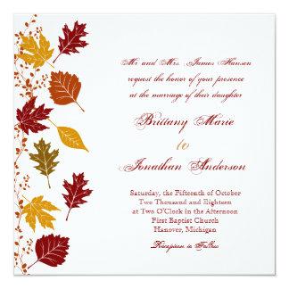 """Falling Leaves Autumn Fall Wedding Invitations 5.25"""" Square Invitation Card"""