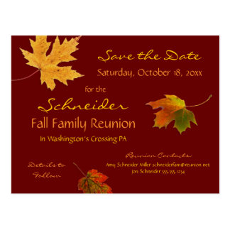 Falling Leaves Family Reunion Party Save the Date Postcard