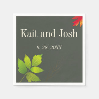 Falling Leaves Maple Oak Wedding Disposable Serviettes