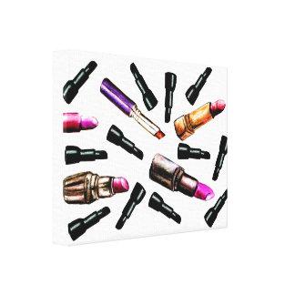 Falling Lipsticks Canvas