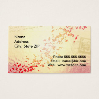 Falling love hearts business card