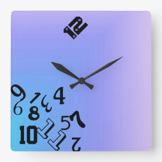 Falling Numbers Square Wall Clock