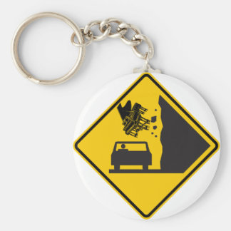 Falling Piano Zone Highway Sign Basic Round Button Key Ring
