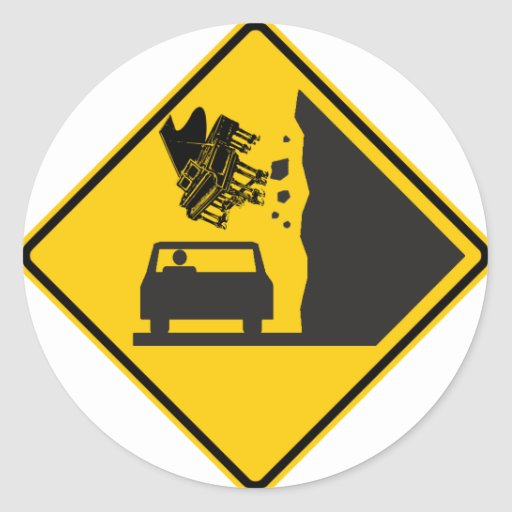 Falling Piano Zone Highway Sign Sticker