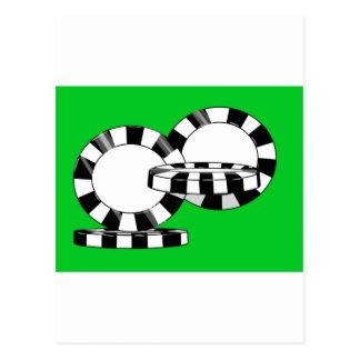 Falling poker chips on green felt post cards