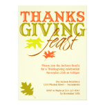 Falling red brown autumn leaves Thanksgiving feast Custom Invitations