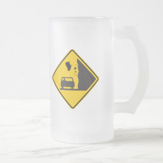 Falling Sheep Zone Highway Sign Frosted Glass Mug