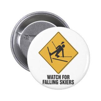 Falling Skiers 6 Cm Round Badge