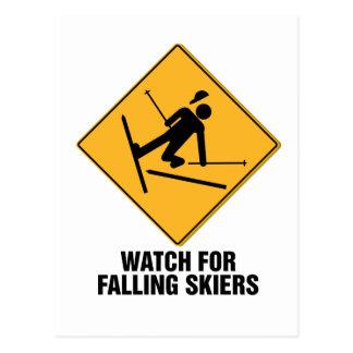 Falling Skiers Post Card