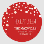 Falling Snow Holiday address labels Round Sticker