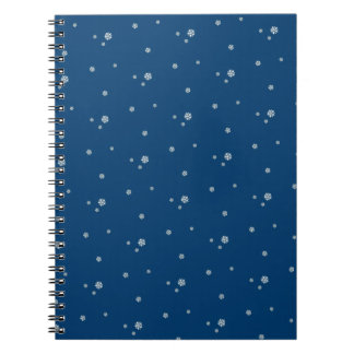 Falling snow on a dark blu sky - Snowflakes Notebooks