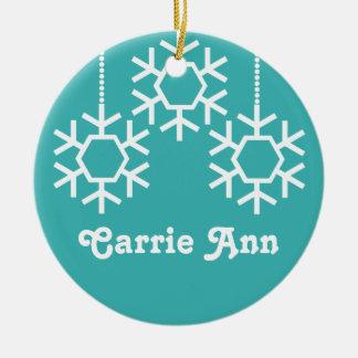 Falling Snowflakes Christmas Ornament, Turquoise Christmas Ornament