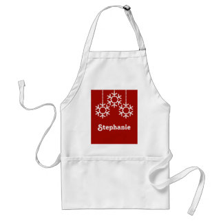 Falling Snowflakes Holiday Apron, Dark Red Standard Apron