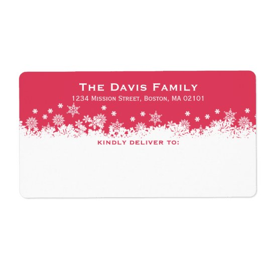 Falling snowflakes red white shipping address shipping label