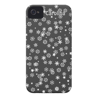 Falling Snowflakes Winter Custom Name Color Skin iPhone 4 Case-Mate Case