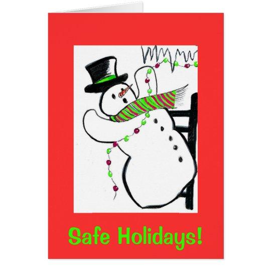 Falling snowman, safe holidays card
