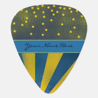 Falling Stars And Rays Of LIght Blue And Yellow Guitar Pick