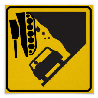 Falling Tank Zone Highway Sign Poster