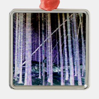 Falling Tree Silver-Colored Square Decoration