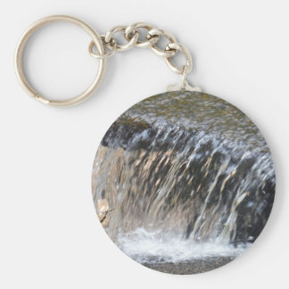 Falling Water, cool blue gray and white stream Key Ring