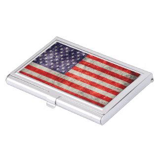 Falln Antique American Flag Business Card Holder