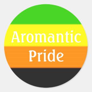 Falln Aromantic Pride Flag (Text) Round Sticker