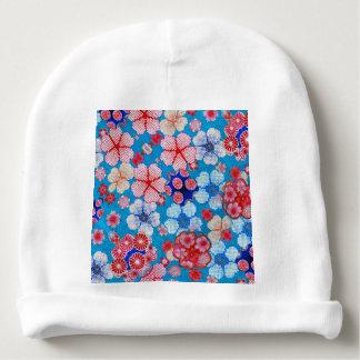 Falln Blue Cascading Floral Chirimen Baby Beanie