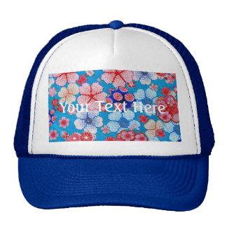 Falln Blue Cascading Floral Chirimen Cap