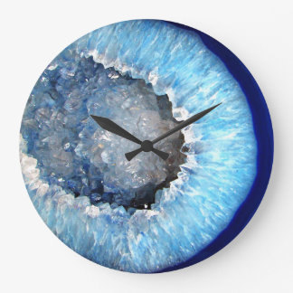 Falln Blue Crystal Geode Large Clock